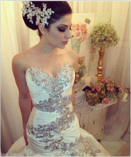 2018 Luxury Sexy Mermaid Wedding Dress, Sweetheart Wedding Dresses. Beads Bridal Dress, Long Bridal Gown