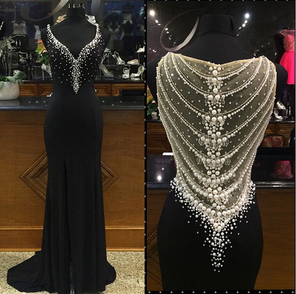 2016 Real Image Luxury Bling Sparkle Prom Dresses Mermaid Black Sheer Back Beads Crystals Long Formal Evening Party Gowns Vestidos