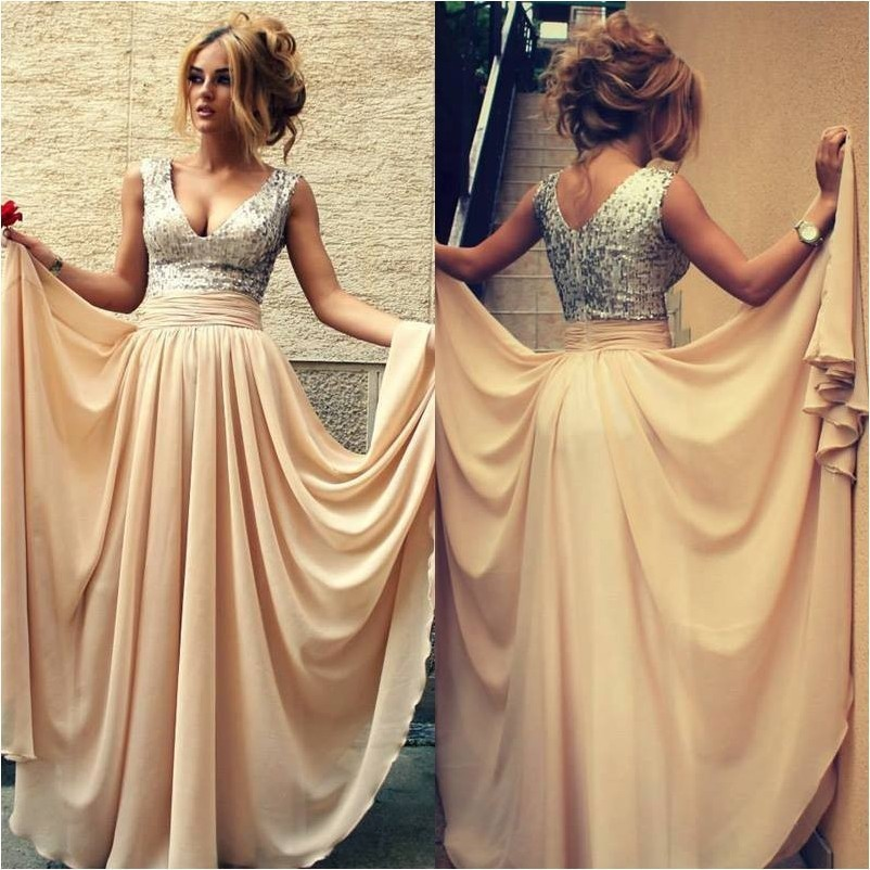 Sexy V-Neck Champagne Chiffon Long Evening Dresses Formal Prom Gowns Sequined A-Line Women's Vestido De Festa Longo Cheap