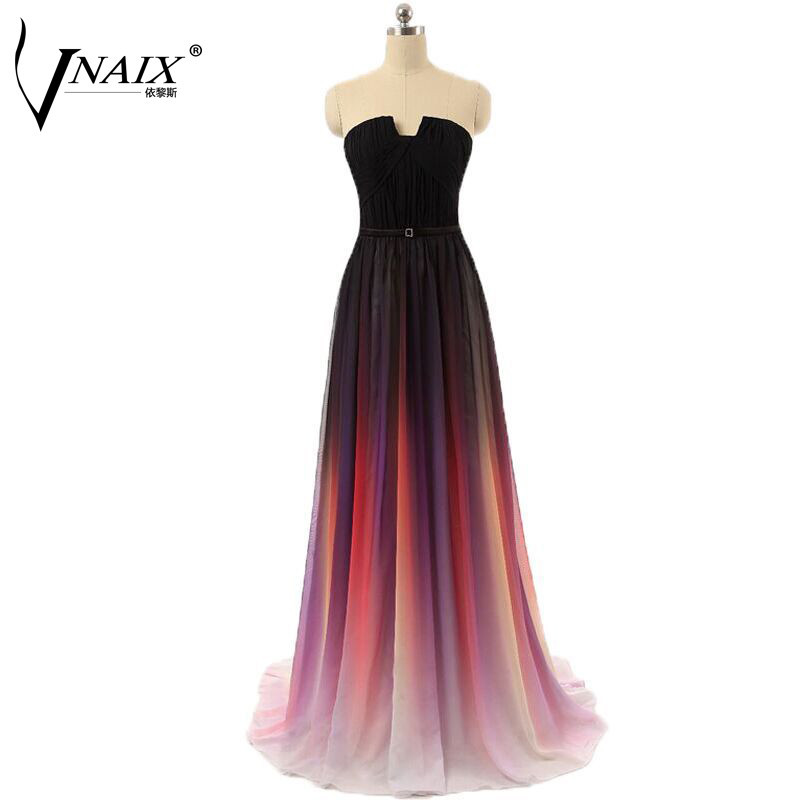 Real Photo In Stock Gradient Ombre Evening Dresses Strapless with Pleat Long Chiffon A Line Women Formal Dress