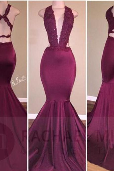 Sexy Mermaid Burgundy Prom Dresses Long Open Back Robe De Soiree Deep V Neck Party Dress Formal Evening Gowns