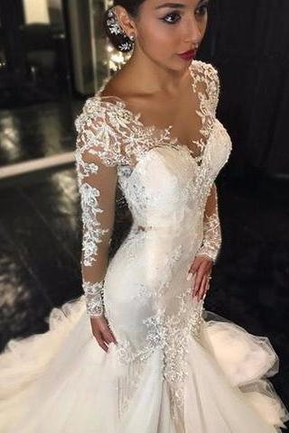 Long Sleeve Mermaid Wedding Dresses 2017 Illusion Vestido De Noiva De Renda O-Neck Sheer Bridal Gowns