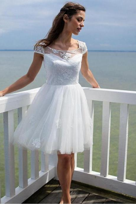 Sexy Short Beach Wedding Dresses Modest Sheer Bridal Gowns Handmade Open Back A Line Lace Vestido De Noiva