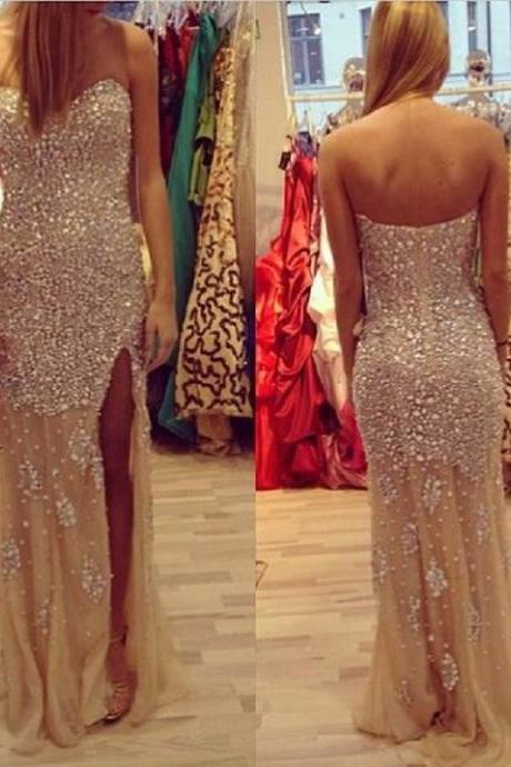 Luxury Beaded Crystal Prom Dresses Mermaid 2017 Sparkly Split Evening Gown Sweetheart Vestidos De Gala Long Graduation Dress