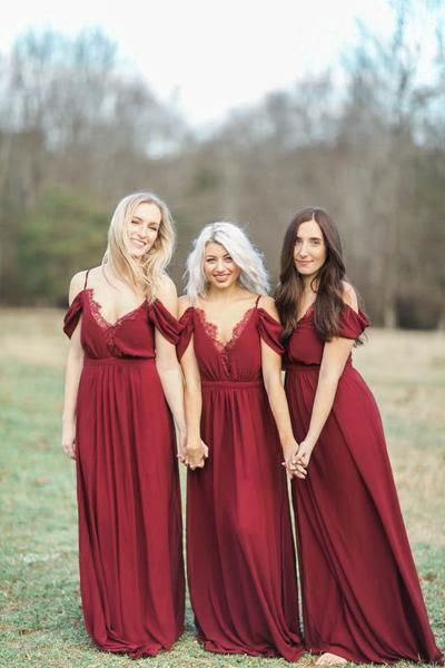 Burgundy Bridesmaid Dresses 2017 Spaghetti Straps Chiffon Wedding Guest Dress