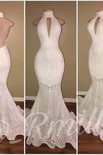 Sexy White Prom Dress White Sequins Lace Prom Dresses High Neck Backless Mermaid Evening Dress Robe De Soiree Formal Dress Party Evening Gowns