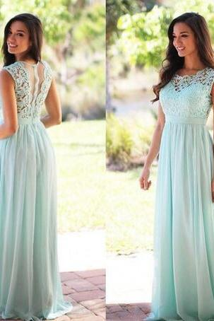 Mint Green Pink Long Bridesmaid Dresses A Line Country Turquoise Bridesmaid Dress Simple Evening Party Gowns Lace Chiffon Prom Dresses