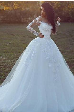 Said Mhamad Bridal Dresses 2018 Jewel Long Illusion Sleeves Sheer Neck Wedding Gowns With Lace Applique Back Zipper Custom Made Wedding Gown