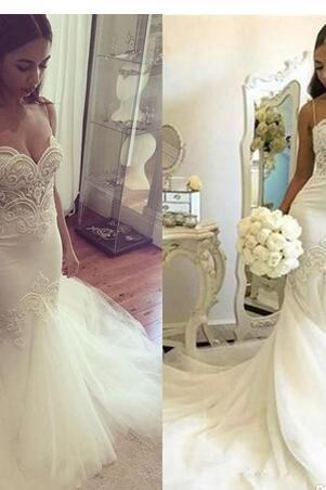 New Sexy Plus Size Mermaid Wedding Dresses Spaghetti Straps Lace Appliques Pearls Tulle Backless Long Court Train Formal Bridal Gowns