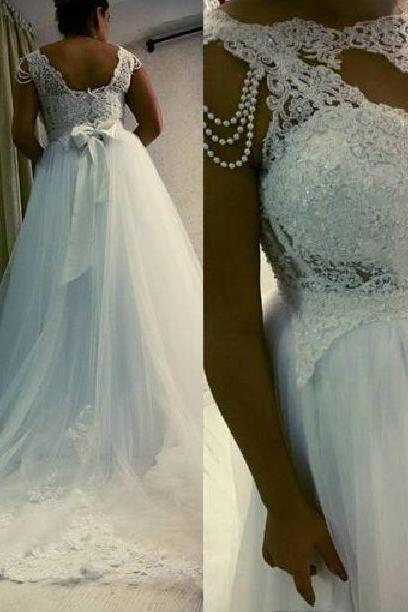 White Lace And Tulle A-line Plus Size African Wedding Dresses Bow Sash Beading Long Bridal Gowns Custom Made