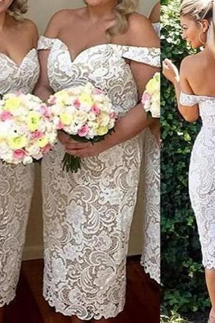 2018 Vintage Ivory Lace Bridesmaid Dresses Tea Length Off Shoulder Sheath Cheap Custom Made Backless Maid Of Honor Gowns Plus Size