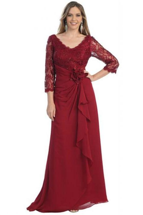 Most Inspired Burgundy Lace Chiffon Mother Of The Bride Dresses Evening Wear With 3/4 Sleeves Draped Plus Size Women Wedding Party Dress