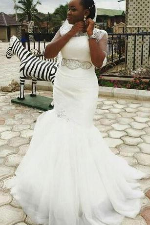 2018 New Nigerian South African Mermaid Wedding Dresses With Beads Sashes Lace Appliques Tulle Wedding Bridal Gowns Vestidos de novia