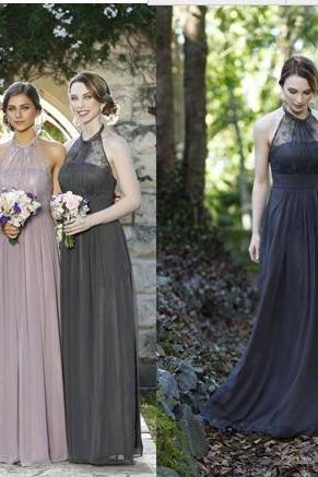 Beach Cheap Long Bridesmaid Dresses Halter Top Lace Illusion Gray Chiffon Empire Maid of Honor Plus Size Bridal Wedding Party Gowns