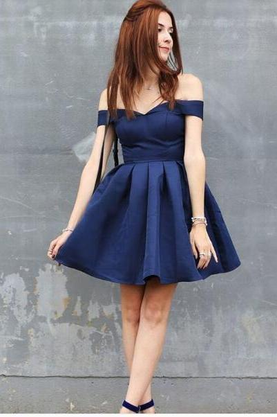 Sexy Dar Navy Homecoming Dress Satin Mini Short Homecoming Dresses Cocktail Dress