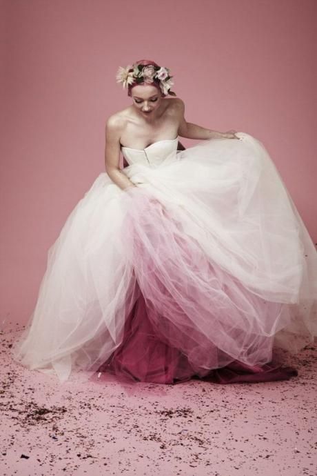 Sexy Colorful Pink and White Wedding Dress Ball Gown Tulle Long Wedding Dresses Bridal Gown Wedding Gown