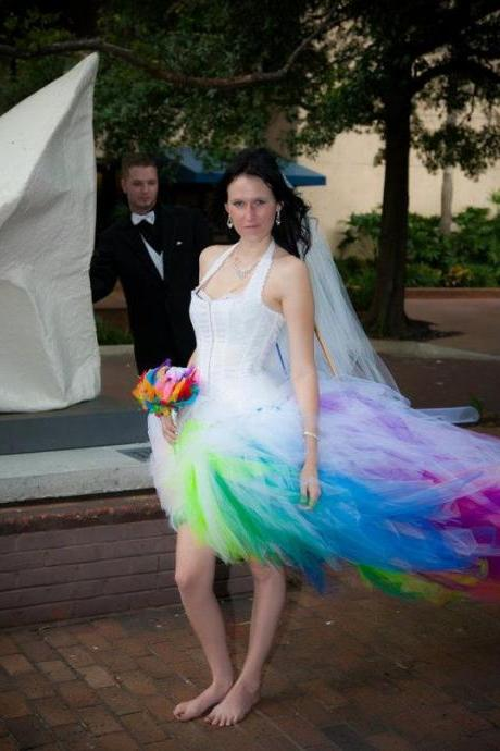 Sexy Unique Rainbow Colorful Wedding Dress Tulle Long Wedding Dresses Bridal Gown Wedding Gown