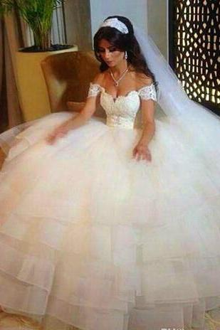 Wedding Dresses A-Line Off Shoulder Lace Applique Train Cheap Bridal Ball Gowns Chapel Train Tulle Arabic Vestido de Novia