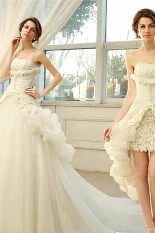 Newest Princess Ball Gown Wedding Dresses Embroidery Ruffles Bride Dresses Organza Detachable Train Robe De Mariage Bridal Wedding Gowns