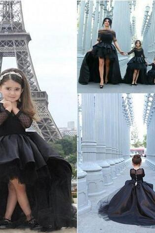 Unique Design Girl's Pageant Dresses Long Sleeves High Low Modest Black Satin Arabic Flower Girl Dress For Wedding Party