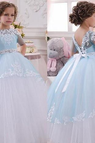 Princess Barbie Cakes Flower Girl Dresses For Weddings Communion Ball Gown Half Sleeve Tulle Appliques 2016 Kids Cheap Pageant Party Dress