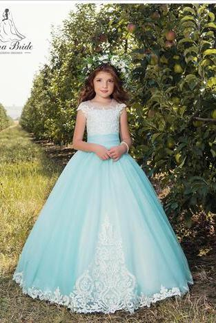 Cap Sleeves Lace 2018 Flower Girl Dresses Tulle Lace Up Vintage Tulle Little Girls Pageant Birthday Gowns