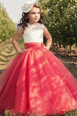 Sheer Neck Lace Beaded 2018 Flower Girl Dresses Lace Up Vintage Tulle Little Girls Pageant Birthday Gowns