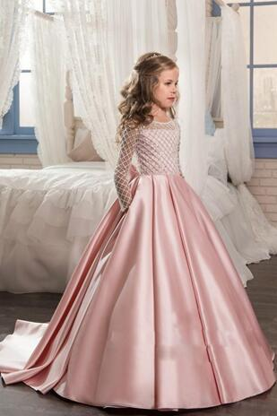Princess Long Sleeves Flower Girls Dresses With Bow Knot Delicate Beaded Sequins Ball Gown Floor Length Girls Pageant Birthday Gowns