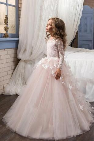 Blush Lace Long Sleeves Ball Gown Flower Girls Dresses Full Butterfly Kids Pageant Gowns Little Girl Birthday Party Dresses