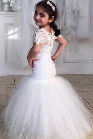 Princess Flower Girl Dresses Short Sleeves Mermaid Lace Tulle Christening Baby Dress Wholesale Cheap Cummunion Gowns Custom Made
