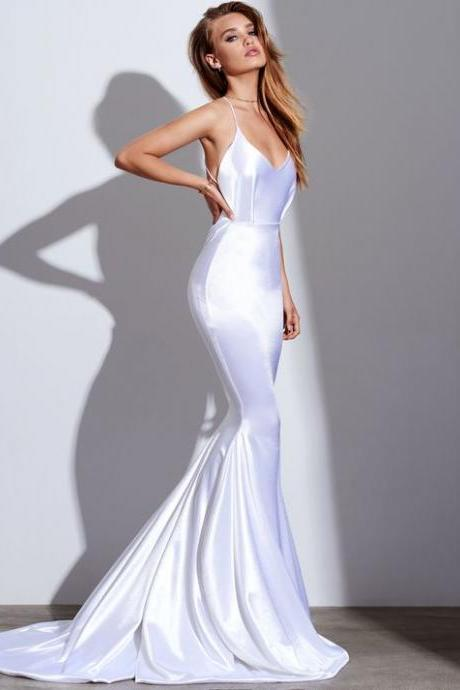 Custom Made White Cami Spaghetti Strap Mermaid Satin Long Evening Dress, Prom Dresses, Bridesmaid Dresses, Wedding Collection