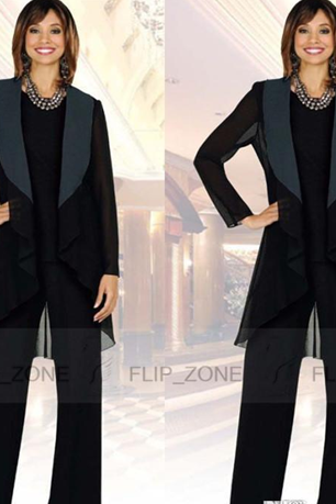 Elegant Mother Of Bride Pant Suit For Wedding Three Pieces Formal Pants Suits Black Long Sleeve Mothers Groom Dresses