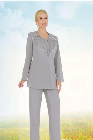 Cheap Two Pieces Mother Of The Bride Pant Suits With Long Sleeve Lace Appliqued Beads Mothers Pantsuits Formal Suits