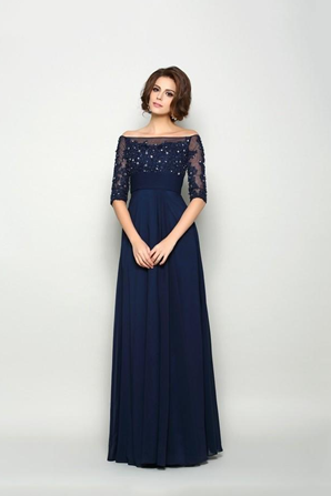 Elegant Navy Mother Of The Bride Dresses Off The Shoulder Beads Lace Appliqued Plus Size Groom Mothers Wedding Guest Dress