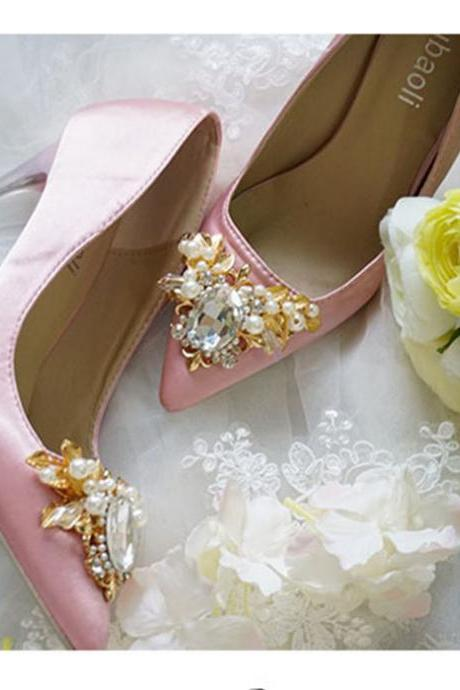 Pointed Toe Stiletto Satin Pumps Adorned with Pearls and Rhinestone Crystal Beading , Bridal Shoes, Bridesmaids Shoes, Prom Heels