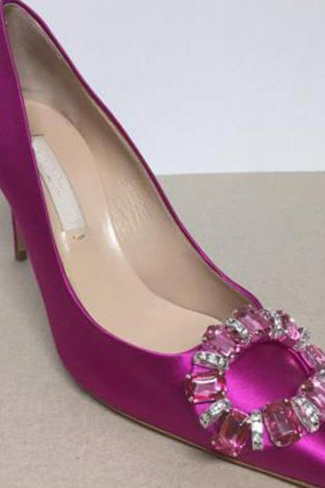 Pointed Toe Satin High Heel Pumps with Circular Crystal Buckle , Bridal Shoes, Bridesmaids Shoes, Prom Heels
