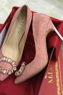Pointed Toe Suede Stiletto Pumps with Circular Crystal Buckle , Bridal Shoes, Bridesmaids Shoes, Prom Heels