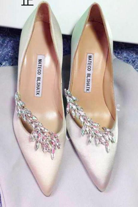 Pointed Toe High Heel Satin Pumps Adorned with Crystal Beaded Florals, Bridal Shoes, Bridesmaids Shoes, Prom Heels