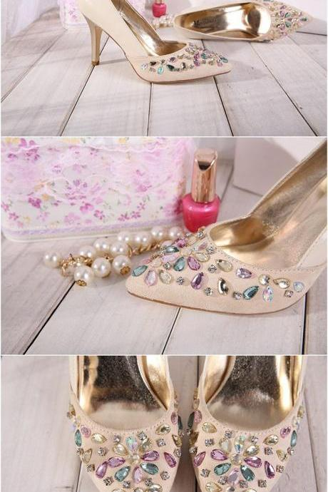 Pointed Toe High Heel Pumps Adorned with Multi-Colour Crystal Embellishments, Bridal Shoes, Prom Heels