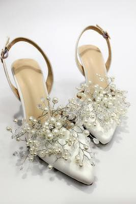 White Pointed Toe Slingback Pumps Featuring Pearl and Crystal Branch Embellishments , Bridal Shoes, Prom Heels