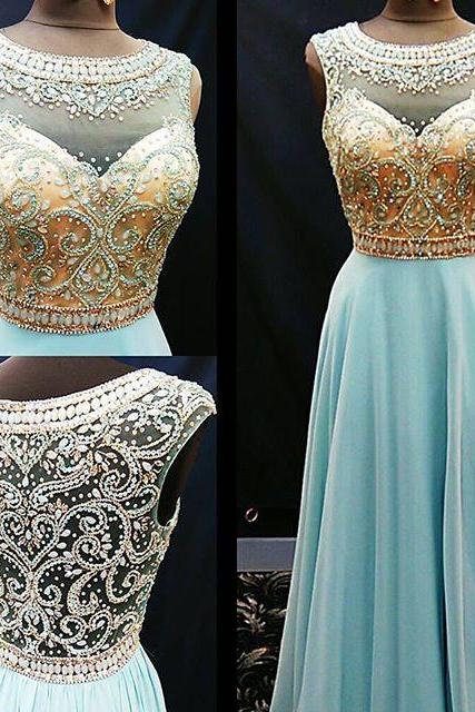 Beads Long Prom Dress, 2018 Long Prom Dress, Blue Prom Dress, Formal Evening Dress