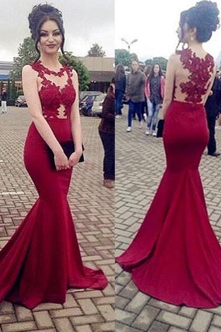 Burgundy Sexy Applique Sleeveless Prom Dress,Mermaid Sweep Train Party Dress,Evening Dress