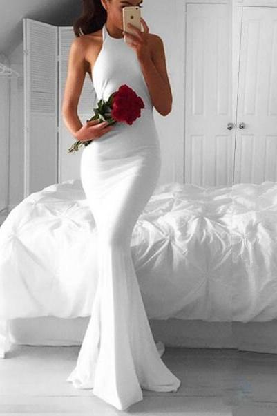 Modern White Mermaid Prom Dress,Halter Backless Evening Dresses, Sweep Train Formal Dress