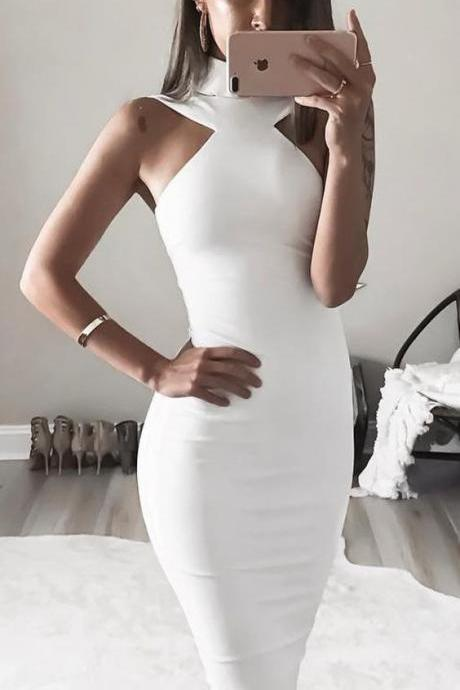 Sexy Sheath Prom Dress, 2018 Knee-length Prom Dress, Hign Neck Long Prom Dress,Satin Prom Dress