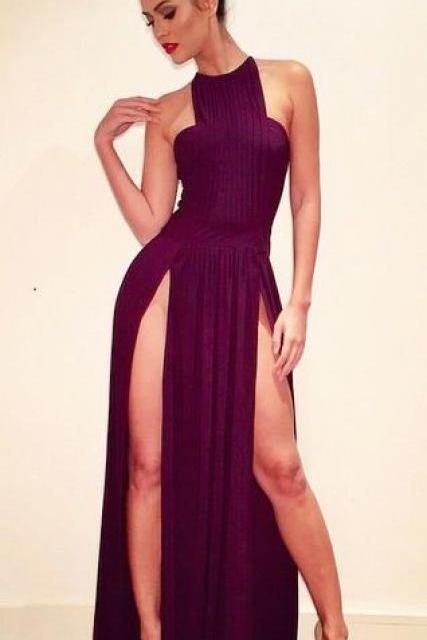 Sexy Burgundy Prom Dress, High Neck Chiffon Evening Dresses, High Split Formal Dress