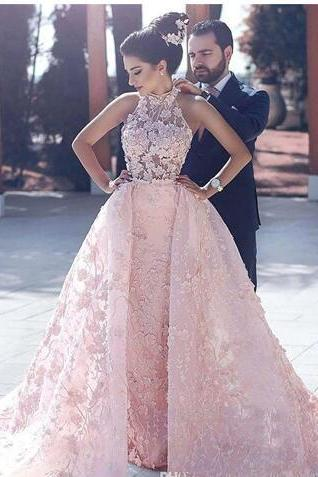 2018 Glarmorous Pink Overskirt Prom Dresses High Neck Sleeveless Full Applique Lace Pageant Evening Gown Vestido de Festa