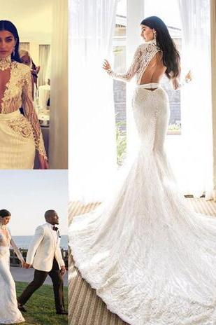 High Neck Mermaid Wedding Gowns Beaded Lace Applique Sash Hollow Backless Wedding Dresses Sexy Fashion Long Sleeves Beach Wedding Dresses