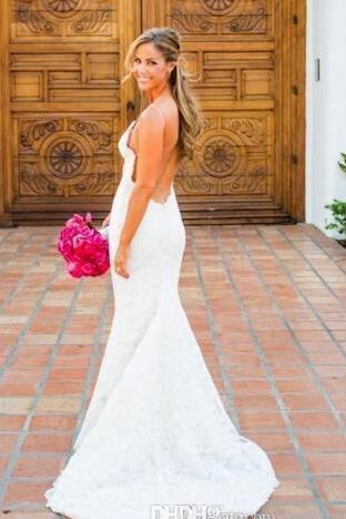 New Sexy Mermaid Backless Wedding Dresses 2018 Lace Open Back V-Neck Off the Shoulder Slim Simple Beach Bridal Gown vestido de noiva