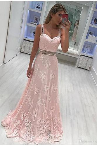 New Light Pink Straps Sweetheart Long Prom Dresses A Line Tulle Lace Appliques Beaded Formal Evening Party Wear Vintage Special Wear