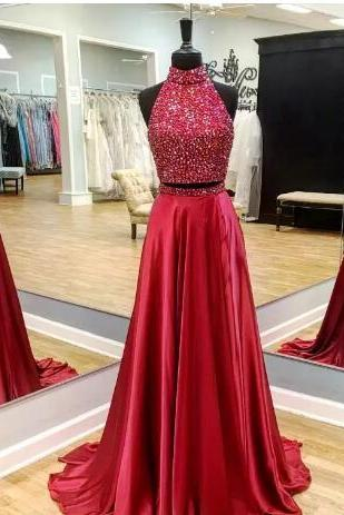 Red Two Pieces Long Prom Dresses Sleeveless Heavily Beaded Top A-line Elegant Teens Girls Formal Prom Party Gowns Custom